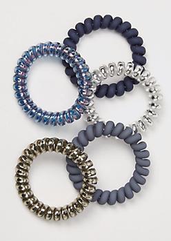 5-Pack Navy Blue Metallic Coil Hair Ties