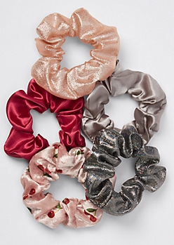 5-Pack Pink Cherry Velvet Sparkle Scrunchie Set