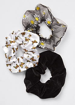 3-Pack Butterfly Daisy Print Scrunchie Set