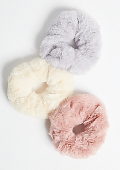 3-Pack Pink Faux Fur Scrunchie Set