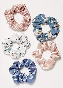 5-Pack Floral Print Satin Scrunchy Set