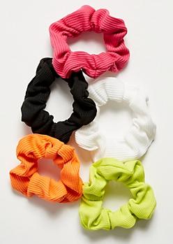 5-Pack Multi Bright Scrunchie Set