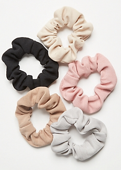5-Pack Pink Knit Scrunchie Set