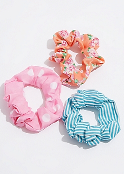 3-Pack Orange Floral Print Sateen Scrunchie Set