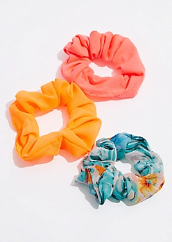 3-Pack Neon Mesh Scrunchie Set