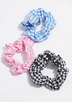 3-Pack Multi Gingham Scrunchie Set