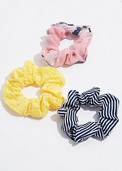 3-Pack Yellow Crocheted Scrunchie Set