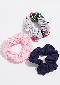 3-Pack Pink Crocheted Scrunchie Set