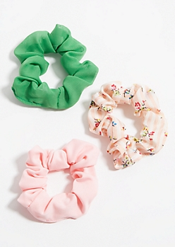 3-Pack Ditzy Floral and Striped Scrunchie Set