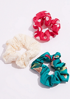 3-Pack Pink Polka Dot Sateen Scrunchie Set