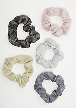 5-Pack Glitter Scrunchie Set