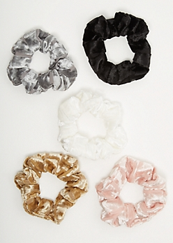5-Pack Velvet Striped Scrunchie Set