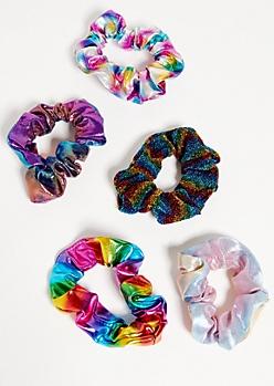 5-Pack Rainbow Oil Slick Scrunchie Set