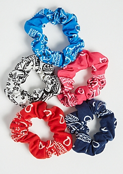 5-Pack Blue Bandana Scrunchie Set
