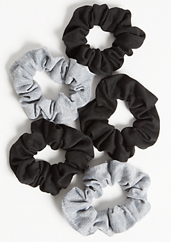 5-Pack Black Knit Scrunchie Set