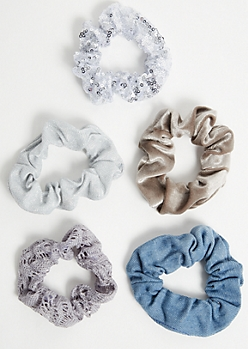 5-Pack Metallic Sequin Scrunchie Set