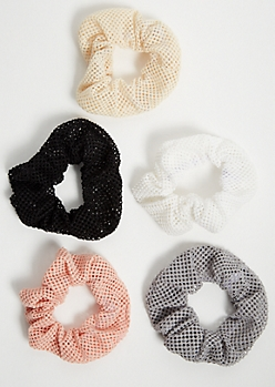5-Pack Neutral Mesh Hair Scrunchie Set