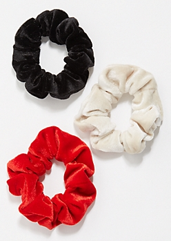 3-Pack Black Velvet Scrunchies