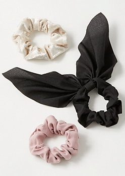 3-Pack Black Blend Bow Scrunchie Set