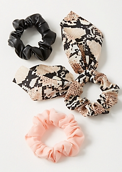 3-Pack Snakeskin Faux Leather Scrunchie Set
