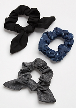 3-Pack Dark Denim Bow Scrunchie Set