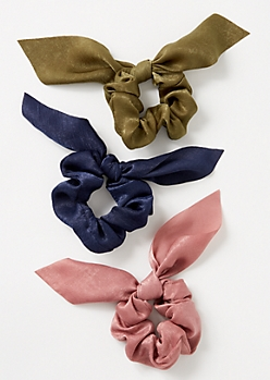 3-Pack Mauve Satin Bow Scrunchie Set