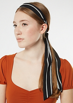 Black Striped Bow Headband