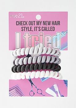 4-Pack Gray Spiral Hair Ties
