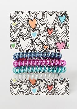 4-Pack Metallic Spiral Hair Tie Set