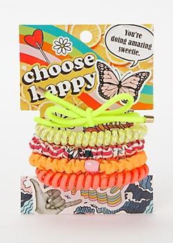 5-Pack Neon Coil Hair Tie Set