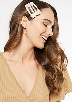 2-Pack Gold Pearl Studded Hair Clips