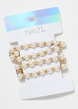 2-Pack Gold Pearl Hair Clip Set