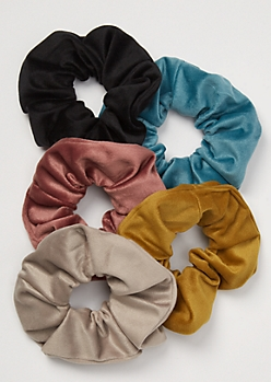 5-Pack Dusty Tone Velvet Scrunchie Set