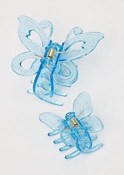 2-Pack Glittery Blue Butterfly Clip Set