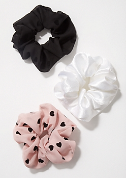 3-Pack Blush Polka Dot Scrunchie Set