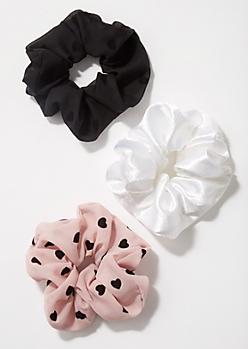 3-Pack Blush Polka Dot Scrunchie Set