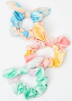 3-Pack Pastel Rainbow Tie Dye Bow Scrunchie Set