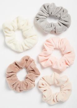 5-Pack Neutral Fuzzy Scrunchie Set