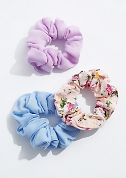 3-Pack Floral & Solid Scrunchie Set