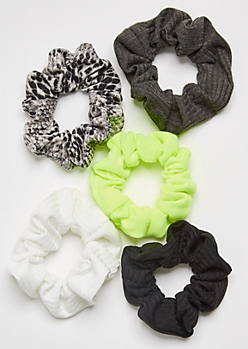 5-Pack Neon Snakeskin Print Scrunchie Set