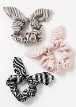 3-Pack Mauve Striped Bow Scrunchie Set
