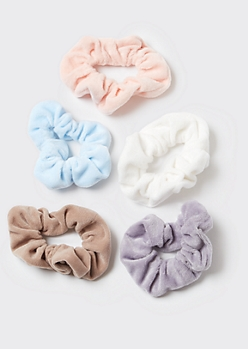 5-Pack Neutral Velvet Scrunchies