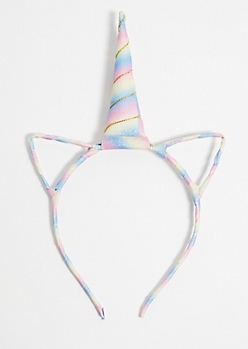 Rainbow Glitter Unicorn Horn Headband