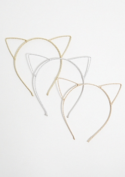 3-Pack Metallic Glitter Cat Ear Headband Set