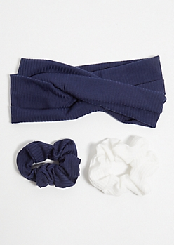 3-Pack Navy Scrunchie Headband Set