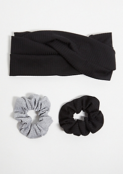 3-Pack Black Scrunchie Headband Set