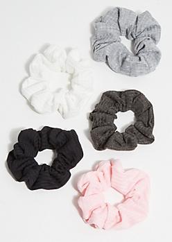 5-Pack Pink Ribbed Knit Scrunchie Set