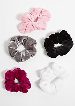 5-Pack Multi Velvet Scrunchies Set