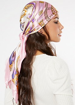 Pink Chain Print Satin Hair Scarf