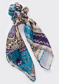 Blue Paisley Print Scarf Scrunchie